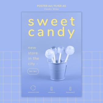 Plakatkonzept für süßwarengeschäftschablone