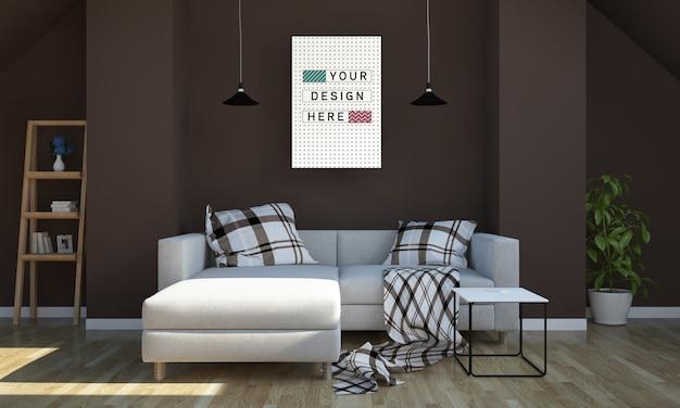 Plakatmodell auf 3d-rendering des wohnzimmers