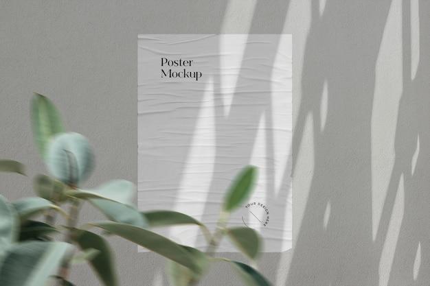 Plakatmodell mit schattenauflage und pflanze