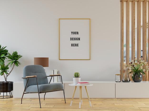 Plakatmodell mit vertikalen rahmen auf leerer wand im wohnzimmerinnenraum mit rosa samtsessel. 3d-rendering