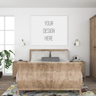 Plakatmodell, schlafzimmer mit horizontalem rahmen