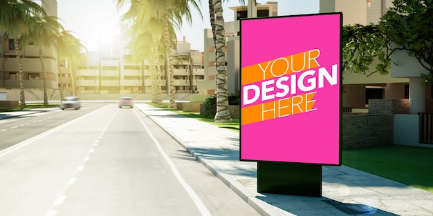 Plakatplakat für kommerzielles anzeigenmodell am straßenrand