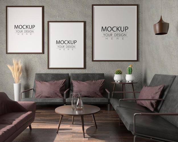 Plakatrahmen im wohnzimmer psd mockup