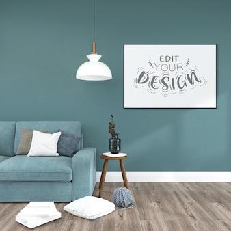 Plakatrahmen im wohnzimmermodell Kostenlosen PSD