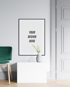 Plakatrahmen & wandmodell mit minimalistischer dekoration