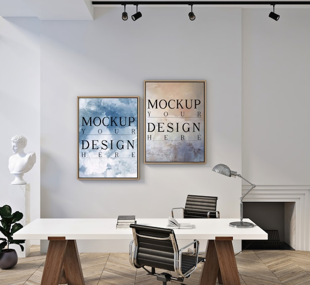 Plakatrahmenmodell im modernen zeitgenössischen büroraum