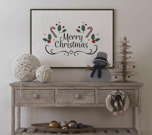 Plakatrahmenmodell im weinleseinnenraum mit weihnachtsbaum und dekoration