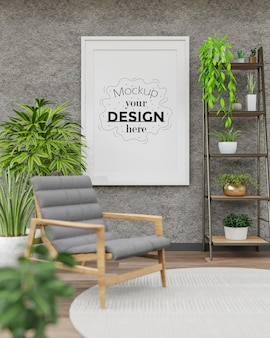 Plakatrahmenmodell im wohnzimmer