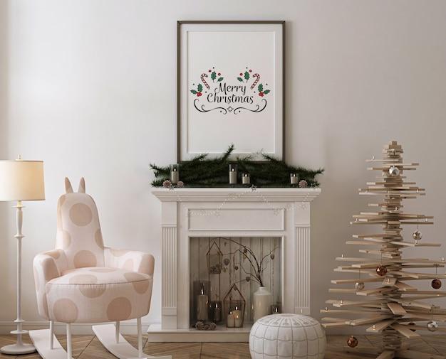 Plakatrahmenmodell mit hölzernem weihnachtsbaum, dekoration und geschenken