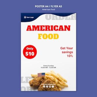 Plakatschablone für amerikanisches nahrungsmittelrestaurant