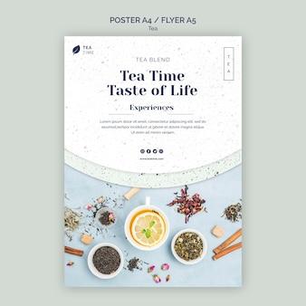 Plakatschablone für aromatische teezeit