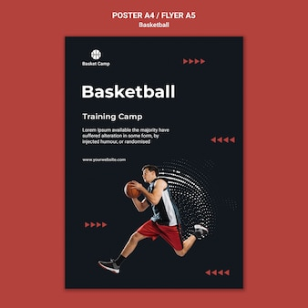 Plakatschablone für basketball-trainingslager