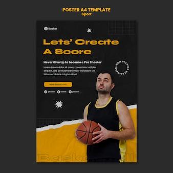 Plakatschablone für basketballspiel mit männlichem spieler