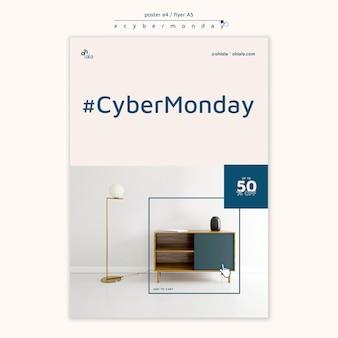 Plakatschablone für cyber-montag-einkauf
