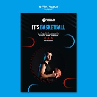 Plakatschablone für das spielen des basketballspiels
