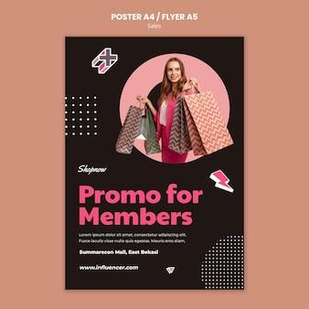 Plakatschablone für den verkauf mit frau im rosa anzug