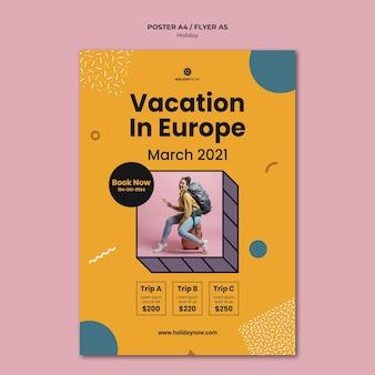 Plakatschablone für ferien mit weiblichem rucksacktouristen