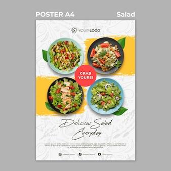 Plakatschablone für gesundes salatmittagessen