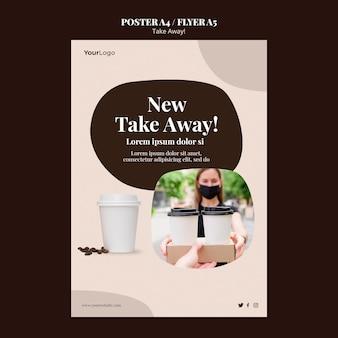 Plakatschablone für kaffee zum mitnehmen