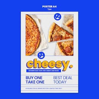 Plakatschablone für neuen käsigen pizzageschmack