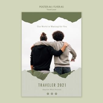 Plakatschablone für reisen im freien