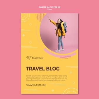 Plakatschablone für reisenden block