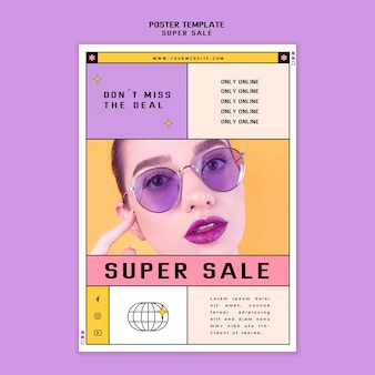 Plakatschablone für sonnenbrillen-superverkauf