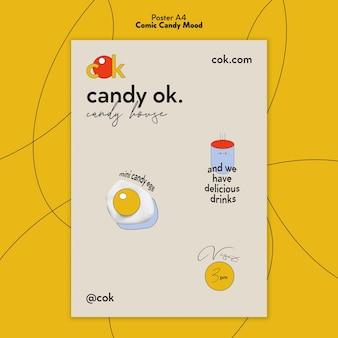 Plakatschablone für süßigkeiten im comicstil