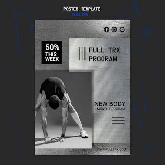 Plakatschablone für trx training mit männlichem athleten