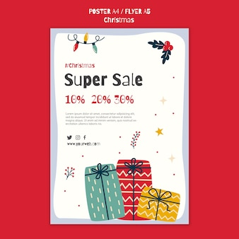 Plakatschablone für weihnachtseinkaufsverkauf