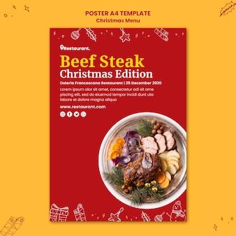 Plakatschablone für weihnachtsessenrestaurant