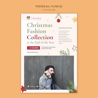 Plakatschablone für weihnachtsverkauf