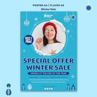 Plakatschablone für winterverkauf