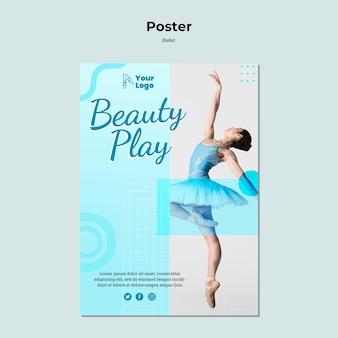 Plakatschablone mit foto der ballerina-tänzerin