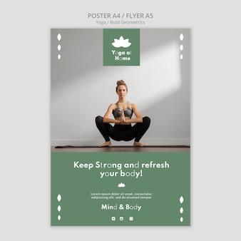 Plakatschablone mit frau, die yoga praktiziert