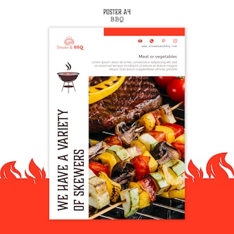 Plakatschablone mit grillkonzept