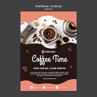 Plakatschablone mit kaffeekonzept