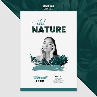 Plakatschablone mit wildem naturkonzept