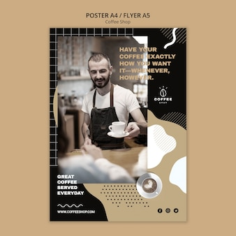 Plakatschablonenkonzept für kaffeestube
