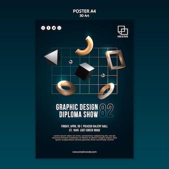 Plakatvorlage für kunstausstellung mit kreativen dreidimensionalen formen
