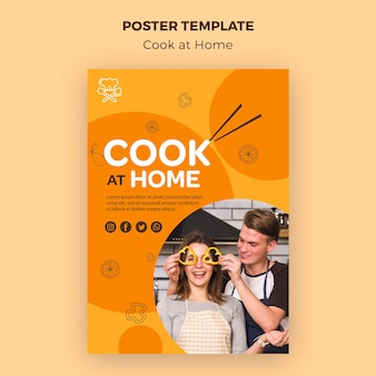 Plakatvorlage zu hause kochen