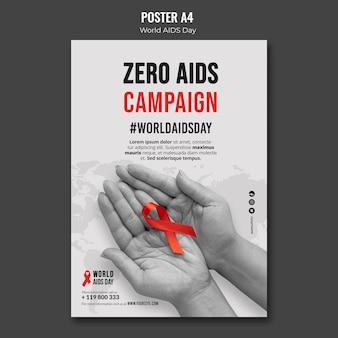 Plakatvorlage zum welt-aids-tag mit rotem band