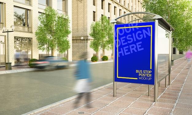 Plakatwand mit musikfestwerbung an der bushaltestelle auf der straßen-3d-darstellung