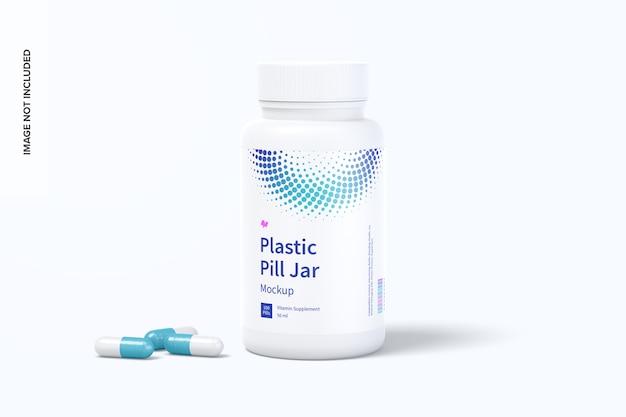 Plastic pill jar mockup