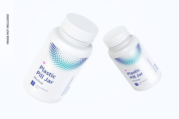 Plastic pill jars mockup floating