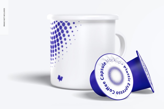 Plastik espresso kaffeekapseln modell mit becher