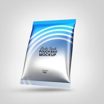 Plastikbeutel tasche mit snacks mockup