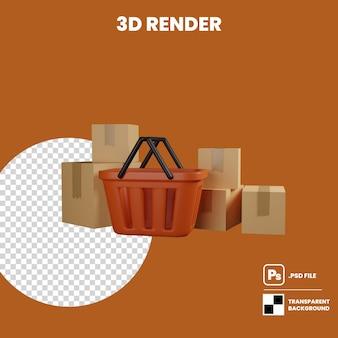 Plastikeinkaufskorb der illustration 3d und ein stapel paketkasten