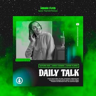 Podcast-flyer-thema zum thema weltraum