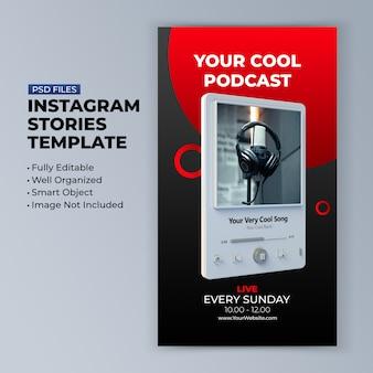 Podcast-kanalvorlage für die werbung für social-media-geschichten